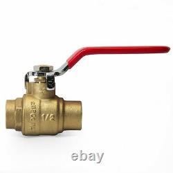 10 PCS 3/4 Inch Sweat Brass Full Port Shut-off Ball Valve For Water, Oil, Gas