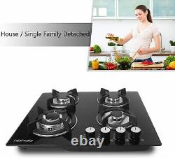 24 inches Gas Cooktop Tempered Glass Built in Gas Stove 4 Burners Gas Stoves