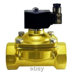 2 Inch Brass Electric Zero Differential Air Water Gas Solenoid Valve 24V DC