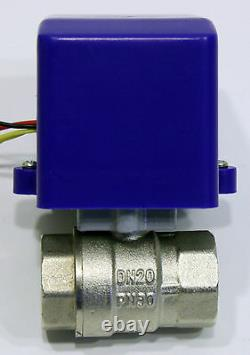 3/4 inch Motorized Ball Valve 12 VDC Low Power High Flow Motor Driven Gas Water