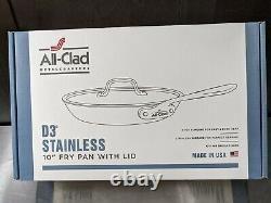 All-Clad D3 Stainless Steel 10 Inch Fry Pan with Lid. 3-Ply Bonding. New in box