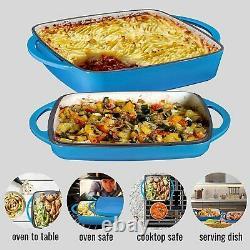 Bruntmor Enameled Cast Iron Casserole Dish Baking Pan Griddle Lid 11 Inch Blue
