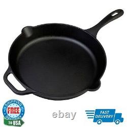 Cast Iron 12 inch Skillet Fry Cooking Pan Seasoned Large Cookware Kitchenware
