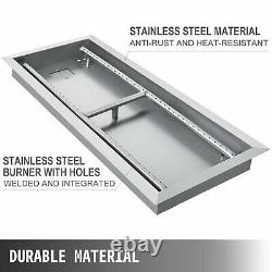 Drop-In Fire Pit Pan with Burner, Rectangular, 31.5 x 12 inch