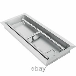 Drop-in Fire Pit Pan withH-Burner 24 x 8 Table-Top Rectangular 24 By 8-Inch