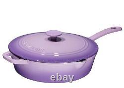 Enameled Cast Iron Skillet Deep Saute Pan with Lid 12 Inch Heat Retention Purple