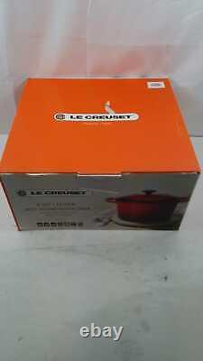 Le Creuset 6.5 Qt/ 10.25 Inch Deep Round Dutch Oven Cerise Cast Iron In Box