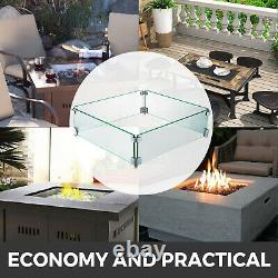 Outdoor Fire Pit Tempered Glass Wind Guards Square 21 x 21 Inch Wind Screens