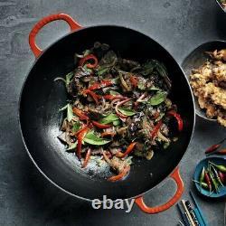 Staub 12 inch Enameled Wok Perfect Pan w Glass Lid 1312987 Grenadine NIB