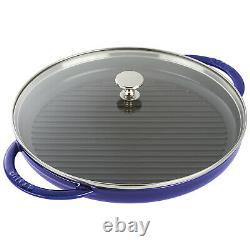 Staub Cast Iron 12-inch Round Steam Grill, Dark Blue