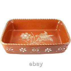 Vintage Portuguese Traditional Clay Terracotta Pottery Roaster Cazuela