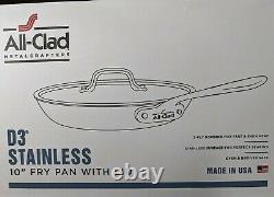 All-clad D3 Acier Inoxydable 10 Pouces Fry Pan Avec Couvercle. 3-ply Bonding. Nouveau Dans La Boîte