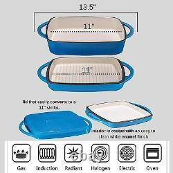 Bruntmor Émaillé Cast Iron Casserole Plat De Cuisson Pan Gridle LID 11 Pouces Bleu