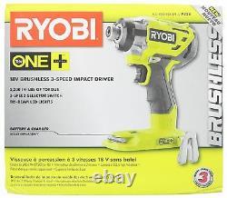 Ryobi P238 18v 18-volt One+ 1/4 Po. Conducteur D'impact Sans Brushless À 3 Vitesses (outil Seulement)