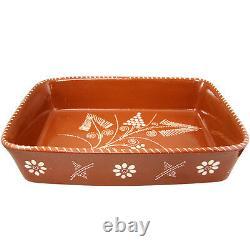 Vintage Clay Traditionnel Portugais Terracotta Pottery Roaster Cazuela